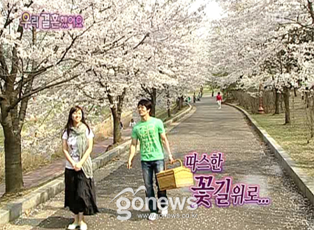 Shin Ae and Alex viewing cherry blossoms